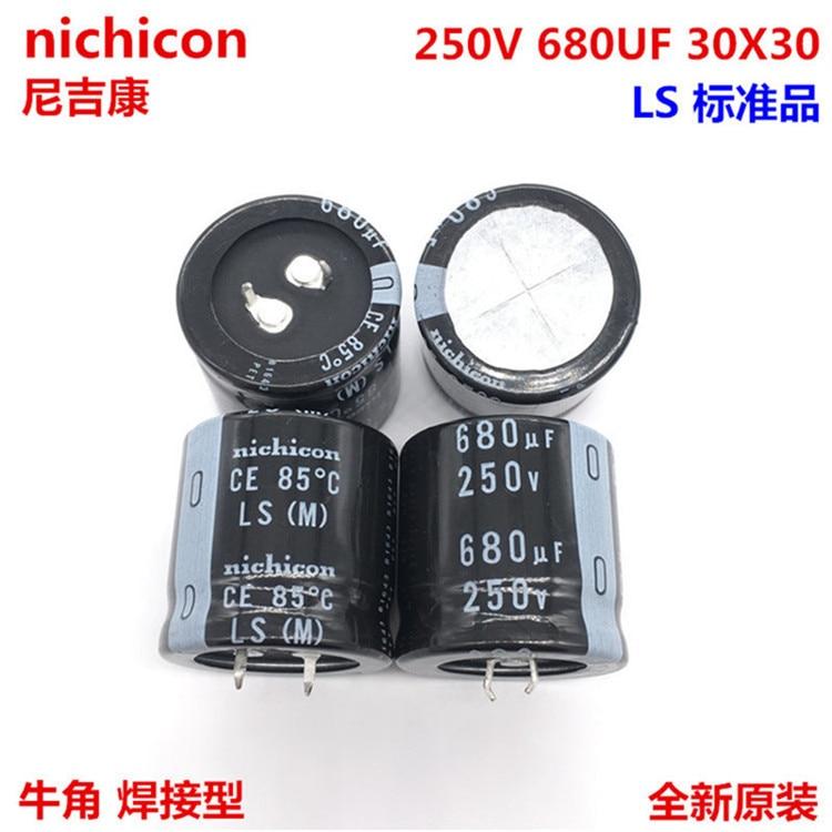 2PCS/10PCS   680uf 250v Nichicon LS 30x30mm 250V680uF Snap-in PSU Capacitor