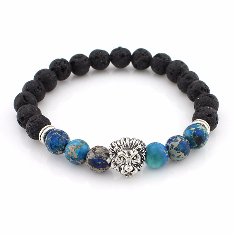 black-lava-stone-bracelets-with-silver-lion-with-blue-colored-natural-stones