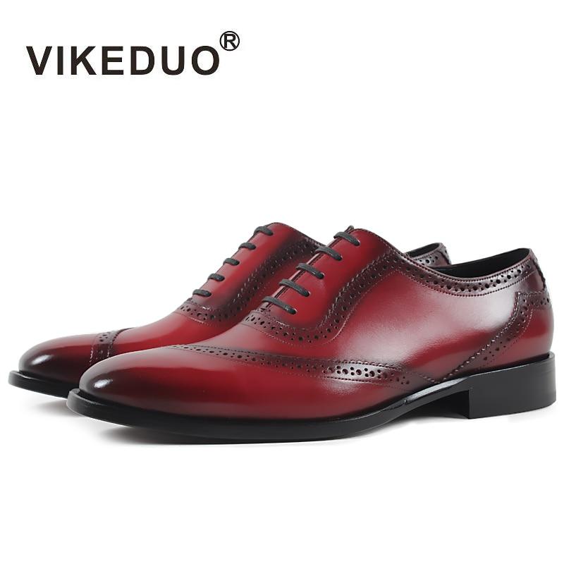VIKEDUO Znamka ročno obutev moški 2019 rdeča svečana pisarniška obutev plus velikost pristno tele usnje Patina Zapatos Hombre