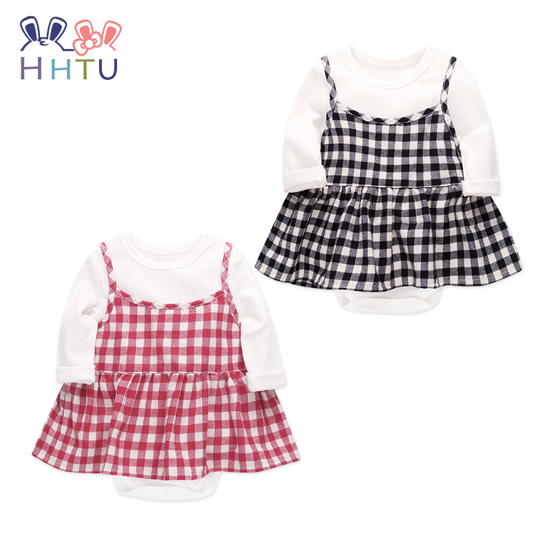 HHTU Baby Rompers Plaid Skirt Sets  Baby Girl Rompers Summer Girls Clothing Newborn Baby Clothes Cute Baby Jumpsuits Infant hhtu baby rompers long sleeve baby girls clothing jumpsuits children autumn newborn baby clothes cotton