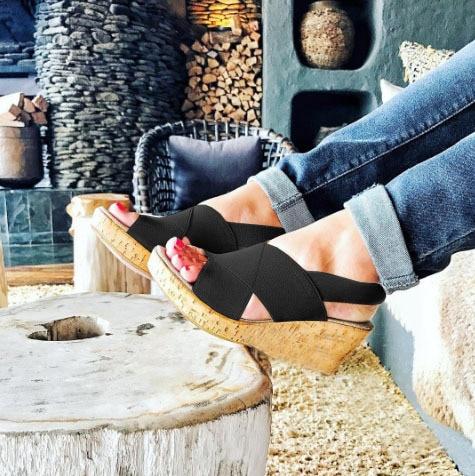 Ladies Sandals Platform Elastic-Band Women Shoes Elegant Summer Open-Toe High-Back-Strap