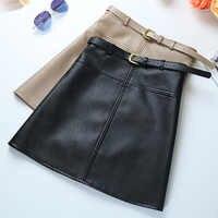 Hiver a-ligne PU jupe en cuir pour les femmes taille haute tenue de bureau jupes grande taille femme jupe avec ceinture