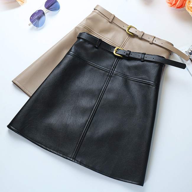 Include Belt  Winter A-Line PU Leather Skirt For Women High Waist Office Wear Skirts Plus Size Female Skirt With Belt