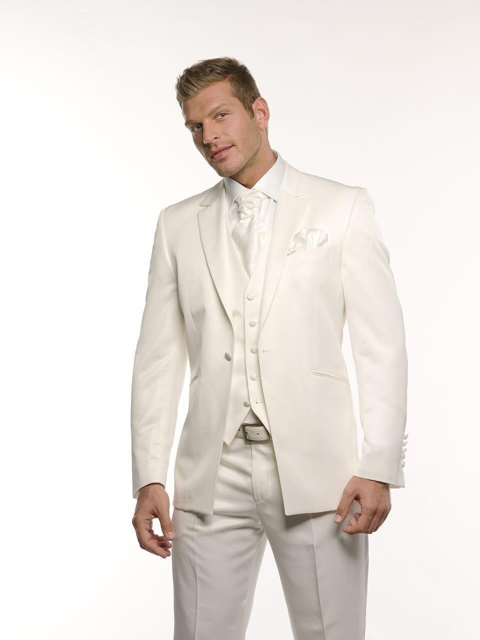 2159fc48697e5 جديد نمط واحد زر العريس سهرة رفقاء العاج الزفاف عشاء بذلات سهرة أفضل رجل  العريس (سترة + بنطلون + ربطة عنق + سترة) b92