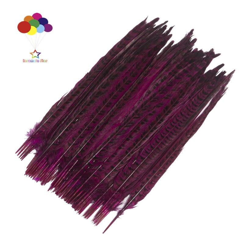 Z & Q & Y naturel 100 queue de poule plume 30-35 CM/12-14 pouces teint prune rouge bijoux à bricoler soi-même coiffure performance plume décorative