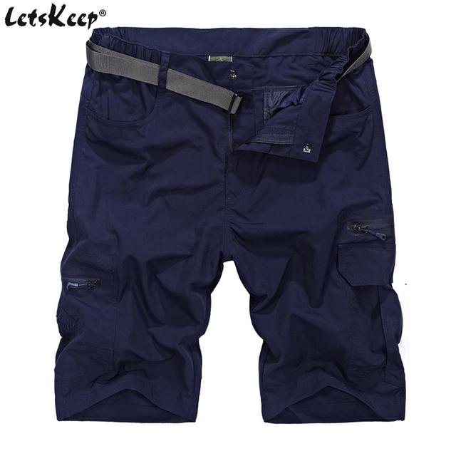 2018 LetsKeep Mens Summer Army Cargo shorts Waterproof fast dry short pants  men elastic waisted casual shorts free belt 97ad83c51