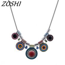 2018 Choker Necklace Fashion Ethnic Collares Vintage Silver Plated Chain Bead Pendant Statement Necklace For Women Jewelry(China)
