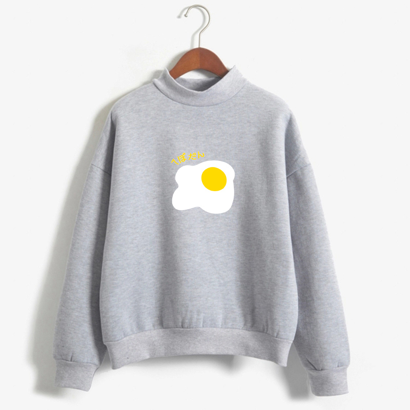 Autumn Harajuku Kawaii Egg Print Hoodies Winter Women Pastel Colors Sweatshirt Turtleneck Fleece Moletom Pullover Drop Shipping