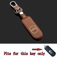 2Bt Brown Leather Car Night Glow Key Fob Holder Key Chain Fob Cover Case Fit For