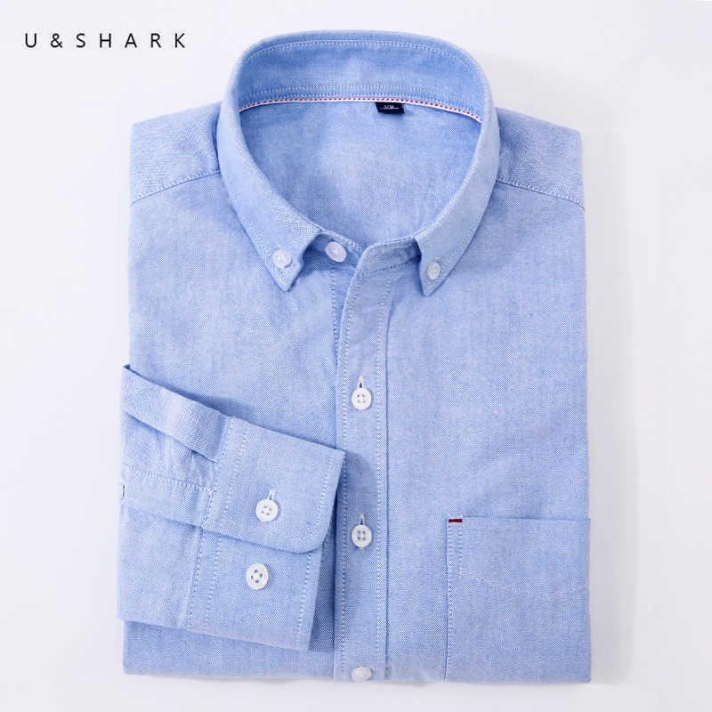 U & SHARK camisa clásica informal para hombre, camisa de manga larga de algodón 100%, blusa para hombre, camisas de vestir Oxford de negocios, ropa Social masculina