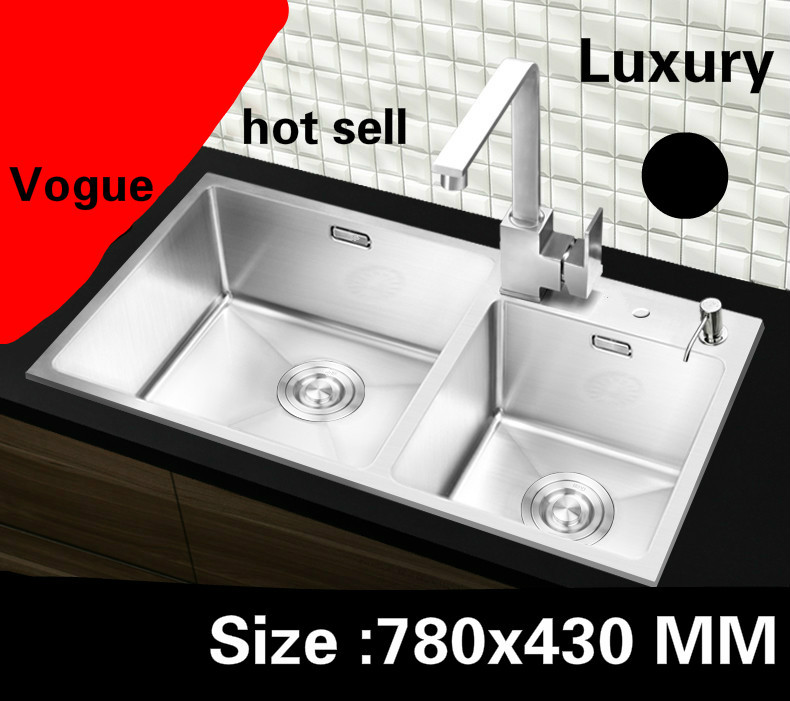 Free shipping Apartment high quality kitchen manual sink double groove 304 stainless steel hot sell 780x430 CMFree shipping Apartment high quality kitchen manual sink double groove 304 stainless steel hot sell 780x430 CM