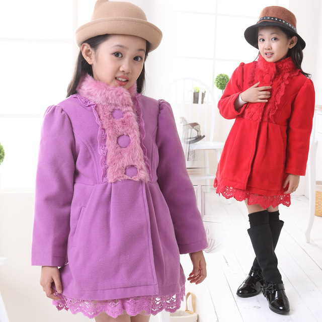 Elegance Princess Winter Wool Coat 2016 New Fashion Fur Stand Collar Overcoat, Winter Warm Jacket For Girls,Pink, Red,120-160CM