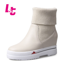 L&T women winter ankle boots genuine leather and caddice slip-on snow boots height increasing PU/PLUSH round toe ladies shoes
