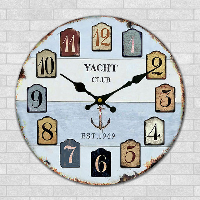 wall clock for office. Mediterranean Wall Clock Rustic Shabby Chic Home Office Study Cafe Bar Shop Decoration YACHT Club Art For