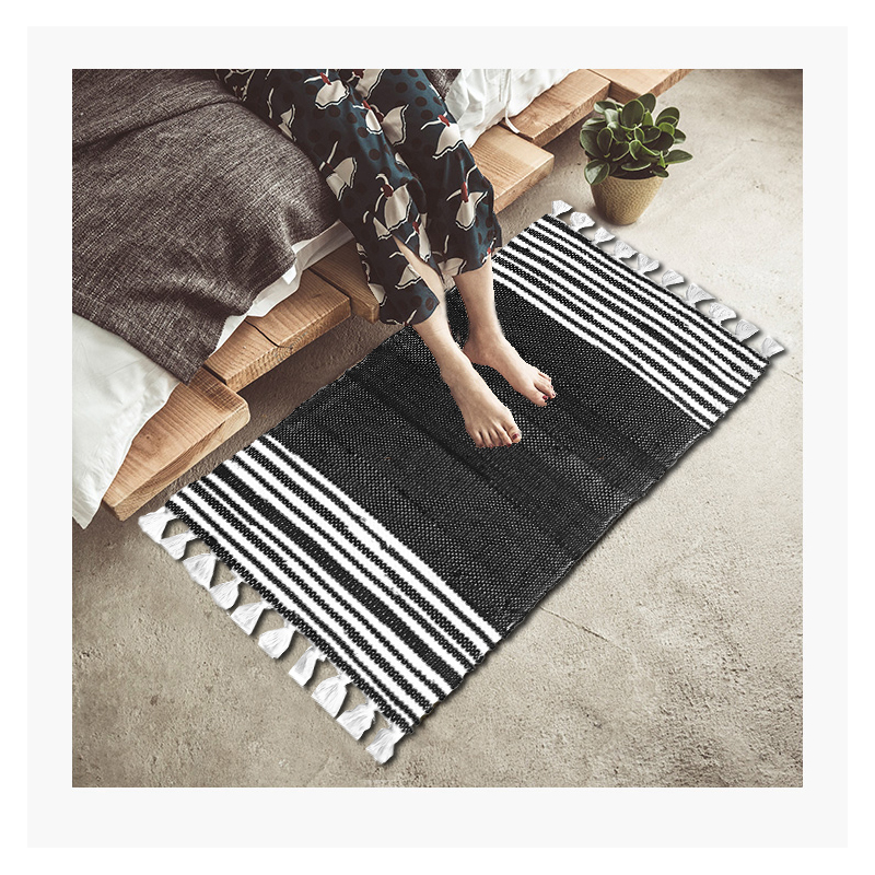 100 Cotton Hand Woven Reversible Rag Rug Black And White