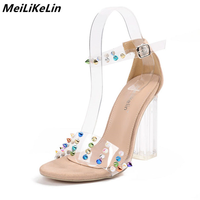 72963b85e6a0 Punk Colorful Rivet high heels sandals womens clear Pvc Transparent Crystal Heel  ankle buckle Gladiator Jelly