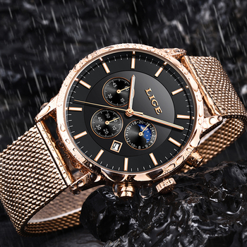 2019 New LIGE Mens Watches Top Brand Luxury Business Watch Sports Waterproof Quartz Clock Fashion Moon Phase Gold Watch For Men 2