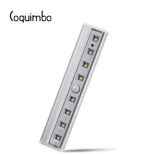 Image 1 - Coquimbo luz con Sensor de movimiento, 8 LED, funciona con pilas, móvil sin cables, imán portátil, luces nocturnas para armario, pasillo, escalera