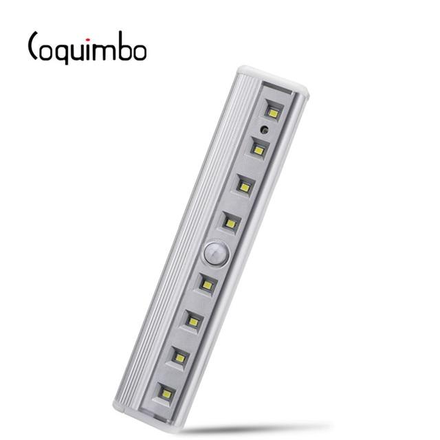 Coquimbo luz con Sensor de movimiento, 8 LED, funciona con pilas, móvil sin cables, imán portátil, luces nocturnas para armario, pasillo, escalera