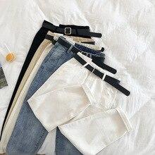 2019 Spring Women High Waist Harem Jeans Trousers With Belt High Street Women Boyfriend Denim Trousers G438 high waist jeans with belt