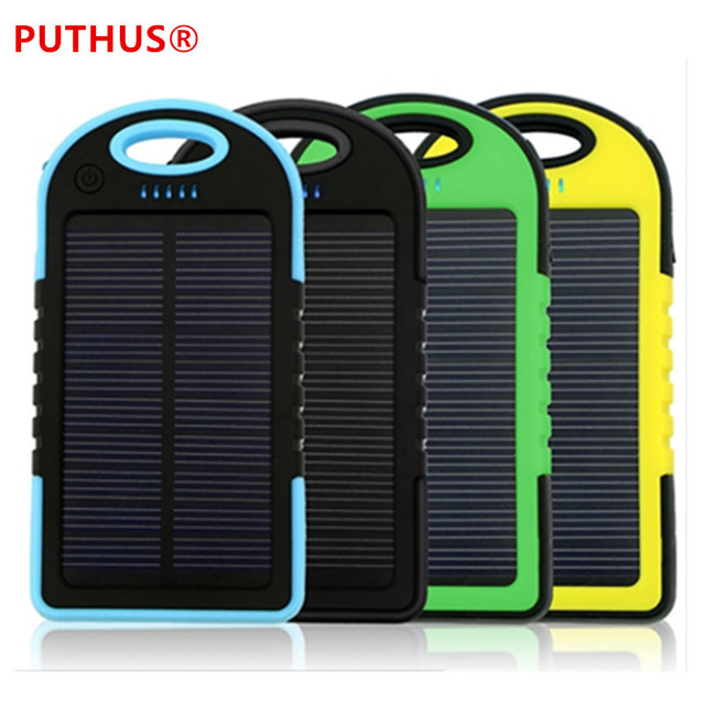 separation shoes 34d64 cfd7d US $7.69 6% OFF Universal solar power bank 5000mah Portable Waterproof  Solar charger Dual USB Solar battery Charger for iphone samsung all  phone-in ...