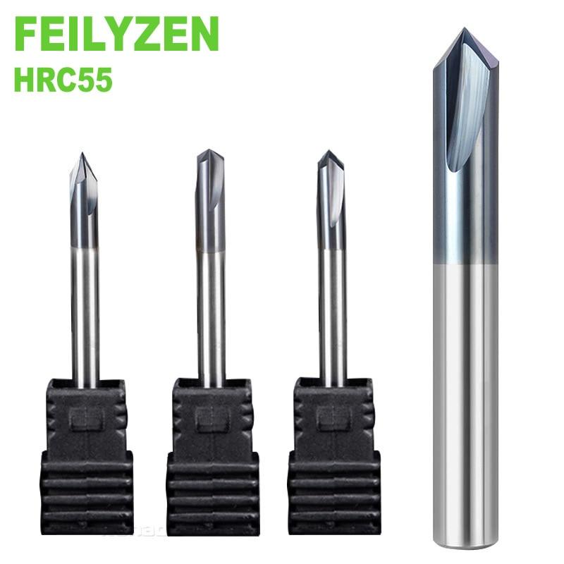 12mm Chamfer End Mill 5pcs//lot HRC45 Cutter Drill Bit 2Flutes Solid Carbide