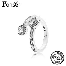 FANSER Retro Open Ring  Geniune 100% S925 Pure Silver Original Copy Has Logo Women Jewelry Fashion Micro pave