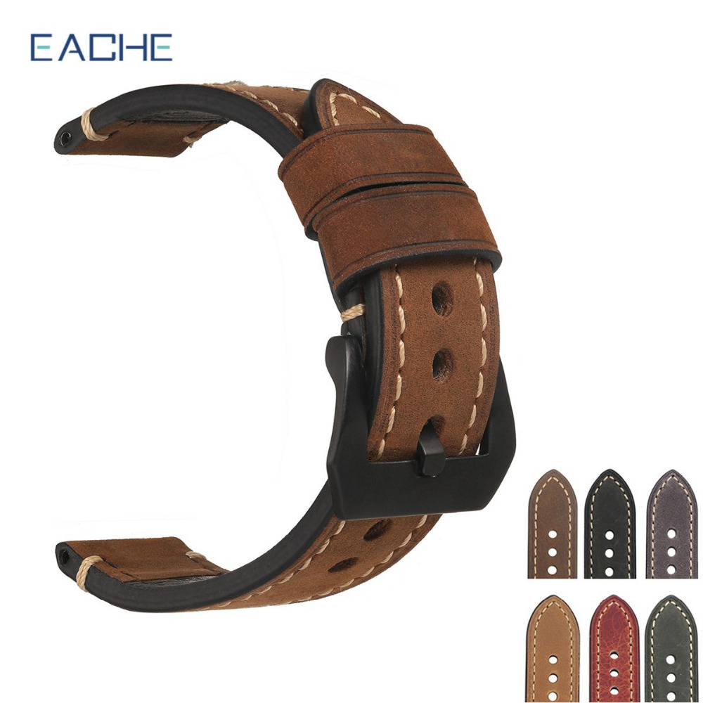 цены EACHE 20mm 22mm 24mm 26mm Genuine Leather Watch Band Crazy Horse Leather Strap for P Watch Hand Made With Black Buckles