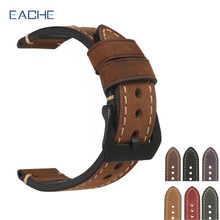 EACHE 20mm 22mm 24mm 26mm Genuine Leather Watch Band Crazy Horse Leather Strap for P Watch Hand Made With Black Buckles