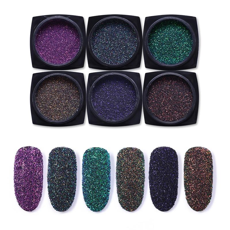 6 Pcs/lot Holographic Nail Glitter Powder Colorful Laser Chrome Decorations For Nails Art UV Gel Manicure Pigment