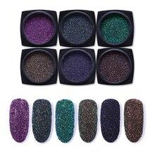 6 Pcs/lot Nail Glitter Powder Colorful Laser Chrome Decorati