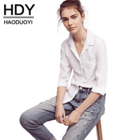 HDY Haoduoyi 2017 Fashion White Blouses Women Turn Down Collar Single Breasted Basic Blouse Lady Casual
