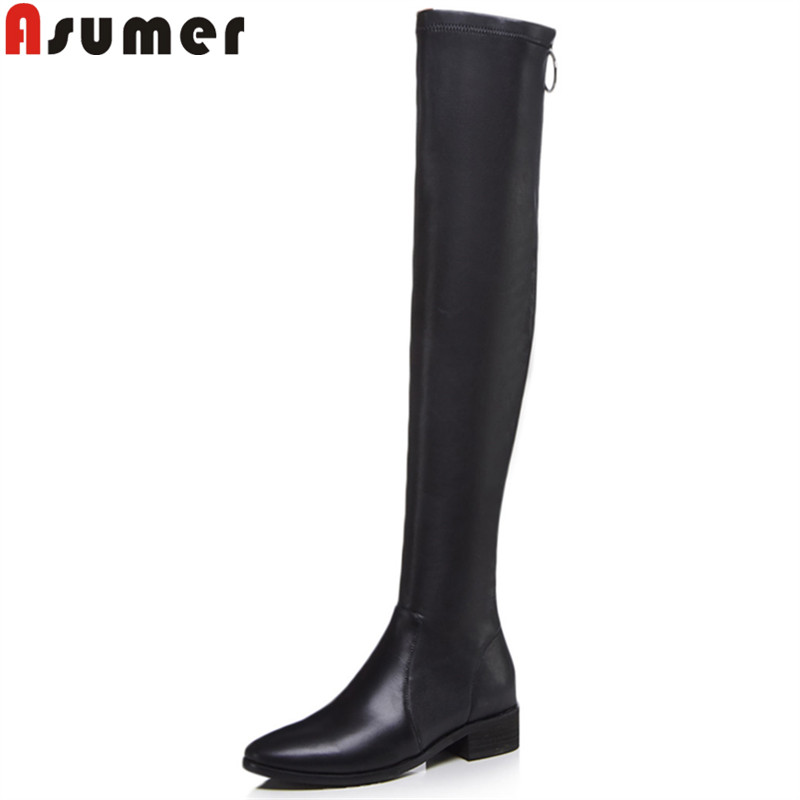 ASUMER 2018 fashion over the knee boots round toe zip med heels ladies autumn winter boots stretch fabric+cow leather boots