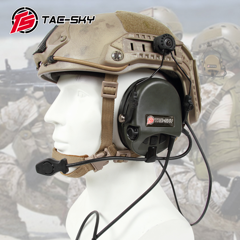 TAC-SKY TEA Hi-Threat Tier 1 Silicone Earmuff Version Noise Reduction Pickup Headset-FG