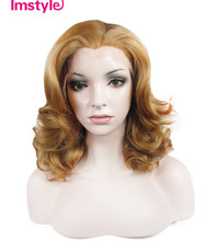 Imstyle cosplay wigs Wavy honey Blonde color 16″  Synthetic lace front wig for women