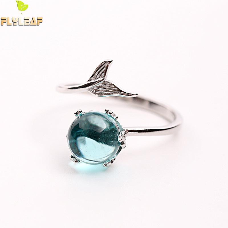 Marca Flyleaf 925 Plata de Ley 100% CRISTAL azul sirena burbuja anillos abiertos para mujer creativa joyería de moda