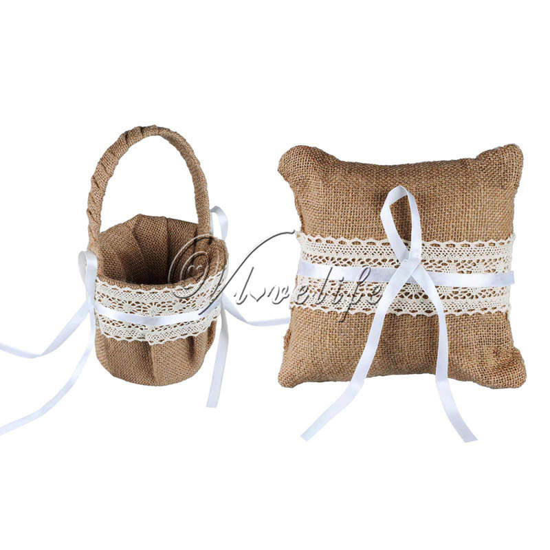 2pcs Set Burlap Wedding Ring Pillow Flower Girl Basket With Lace Ribbon For Wedding Event Rustic Decor Supplie