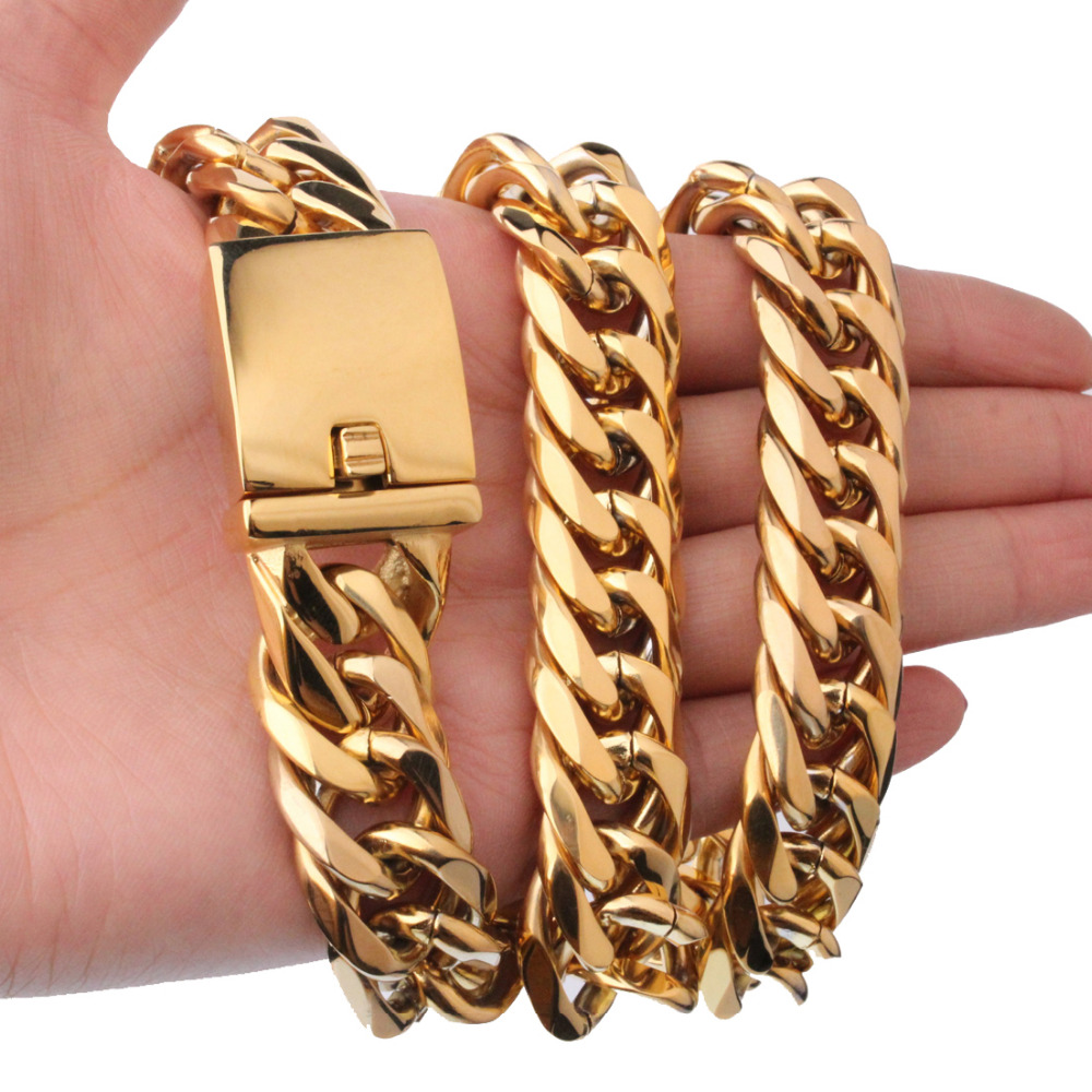 ba6702ee138f4 US $13.49 10% OFF|Heavy 16mm Wide Double Stainless Steel Curb Cuban Link  Chain Biker Men's Necklace Or Bracelet Jewelry Gold Color 7 40