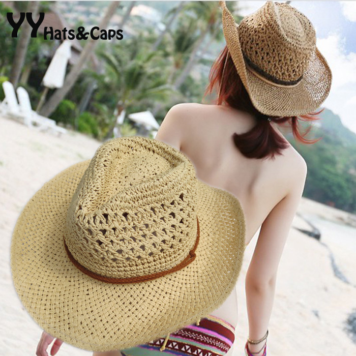 Sommerstil Halm Cowboy Hat Unisex Hollow Western Hats Holiday Beach Felt Sunhats Party Cap for Man Woman YY0271