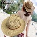 Verão de palha chapéu de vaqueiro ocidental oco chapéus de praia de festa Cap Sunhats para mulher YY0271