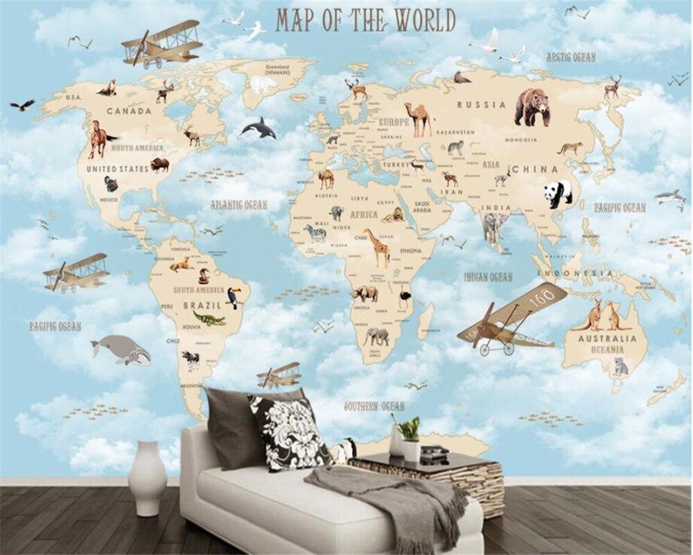 Купить с кэшбэком Beibehang Custom Children Room Wall 3d Wallpaper Cartoon Airplane Sailing Animals World Map Background Wall 3d wallpaper tapety