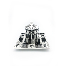 Retro Neuschwanstein Castle Dinner Plate Decorative Dish Castle Candle Holder Creative White Black Geometric Lines Home Decor