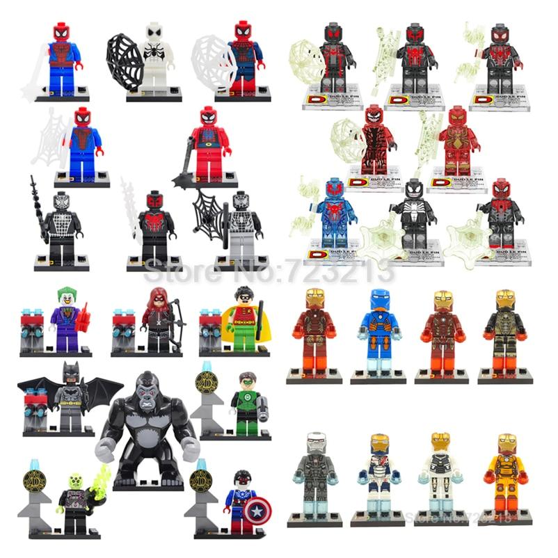 Super Hero Spiderman Iron Man Deadpool DC Batman Figure 8pcs/set DLP Building Bricks Blocks Model Sets Educational Toys Figure loz diamond building blocks the avengers spiderman superman batman iron man figure toys children gift free shipping
