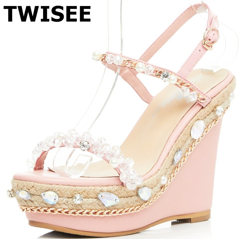 Crystal Wedges platform sandals Buckle Strap summer sandals ladies women shoes sandals woman casual shoes Comfortable phyanic 2017 gladiator sandals gold silver shoes woman summer platform wedges glitters creepers casual women shoes phy3323