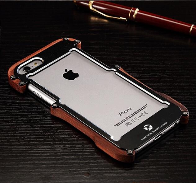 imágenes para Para el iphone 7 Plus R-sólo Veta de la Madera De Metal Cubierta de la Caja A Prueba de Golpes Para iphone 6 6 S Más 5 5S SÍ Armor Funda Del Parachoques Marco De Aluminio