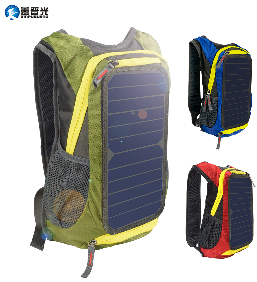 6W 6V Green/Red/Blue Solar Panel Backpack Men Women Battery Power USB Charger For Phone Laptop Outdoor Camping Sport Hiking