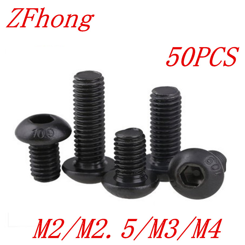 50pcs ISO7380 M2 M2.5 M3 Grade 10.9 black Hex socket Round Button Head Screw Screws