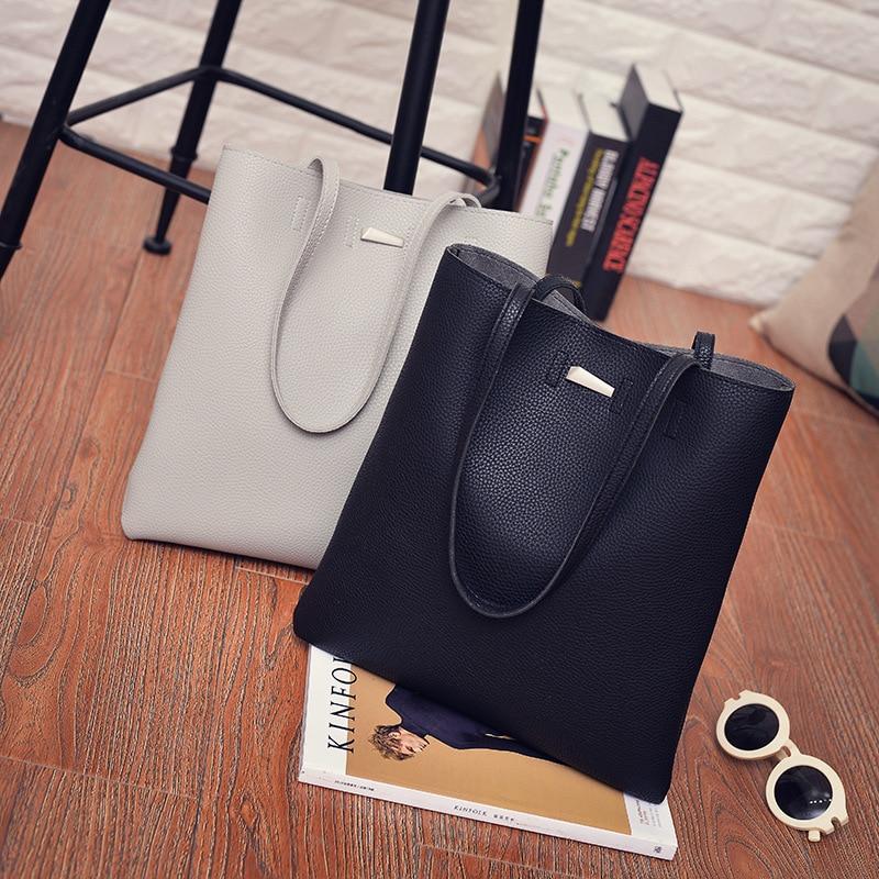 2017 new women simple PU big bag ladies European and American single shoulder bags fashion female