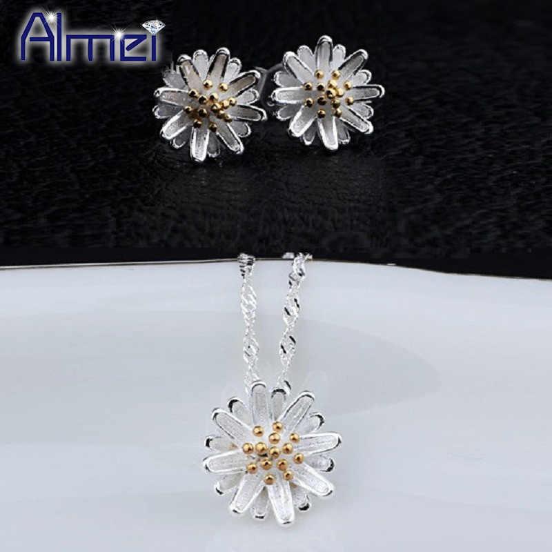 Almei Dubai fleur bijoux ensemble pour femmes enfants couleur argent Daisy pendentif collier boucles d'oreilles Costume ensembles accessoires mignons DML01