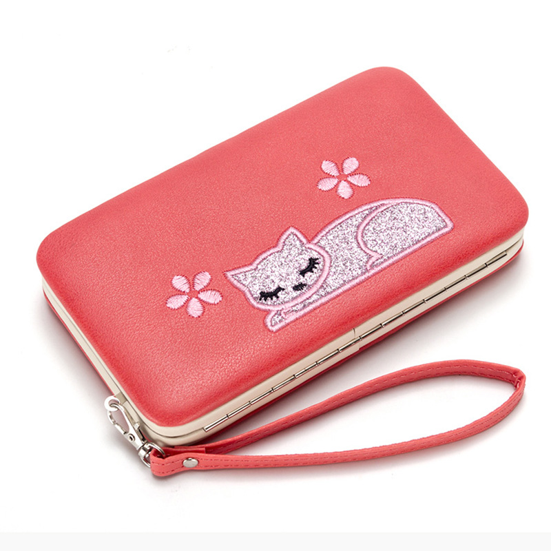 цены Cat Card Leather Wallet Case For iPhone 7 6 Plus 5S Phone Bag Case Women Wallet Purse Card Holder Universal For Samsung S8 Case